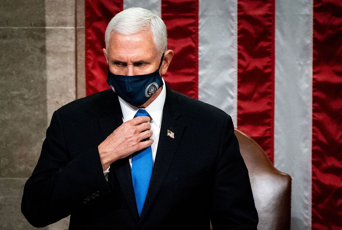 Vice President Mike Pence presides over a joint session of Congress to certify the 2020 Electoral College results after supporters of President Donald Trump stormed the Capitol earlier in the day on Capitol Hill in Washington, DC on January 6, 2021. - Members of Congress returned to the House Chamber after being evacuated when protesters stormed the Capitol and disrupted a joint session to ratify President-elect Joe Biden's 306-232 Electoral College win over President Donald Trump. (ERIN SCHAFF/POOL/AFP via Getty Images)