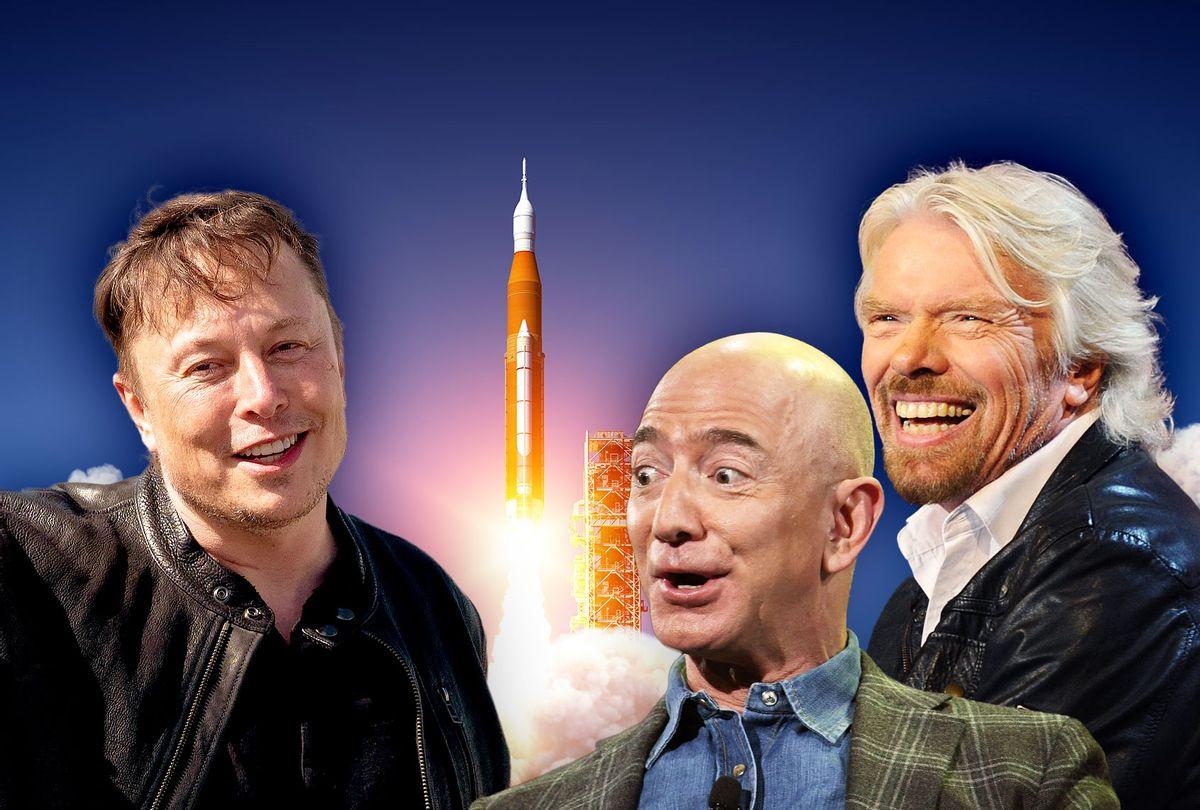 Elon Musk, Richard Benson, Jeff Bezos, and a rocket launch (Photo illustration by Salon/Getty Images)