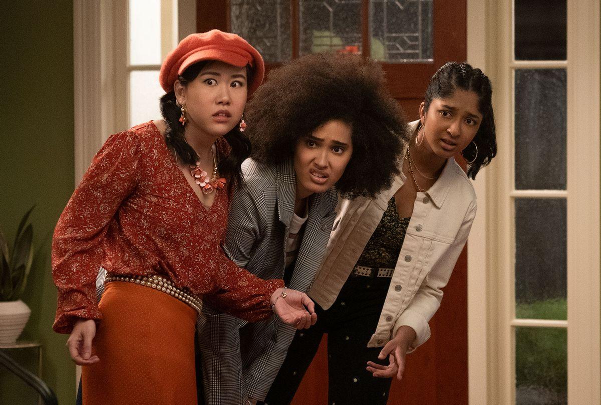 """Ramona Young, Lee Rodriguez and Maitreyi Ramakrishnan in """"Never Have I Ever"""" (Isabella B. Vosmikova/Netflix)"""