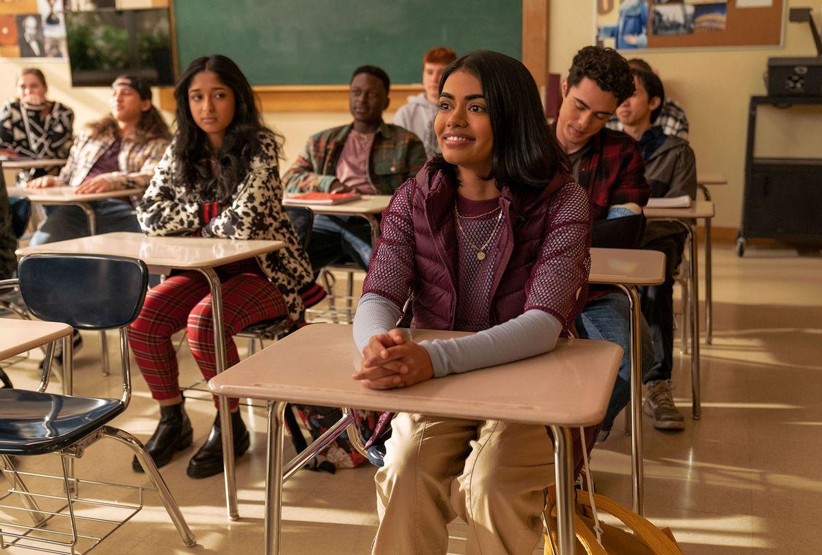 "Maitreyi Ramakrishnan and Megan Sure in ""Never Have I Ever"" (Isabella B. Vosmikova/Netflix)"