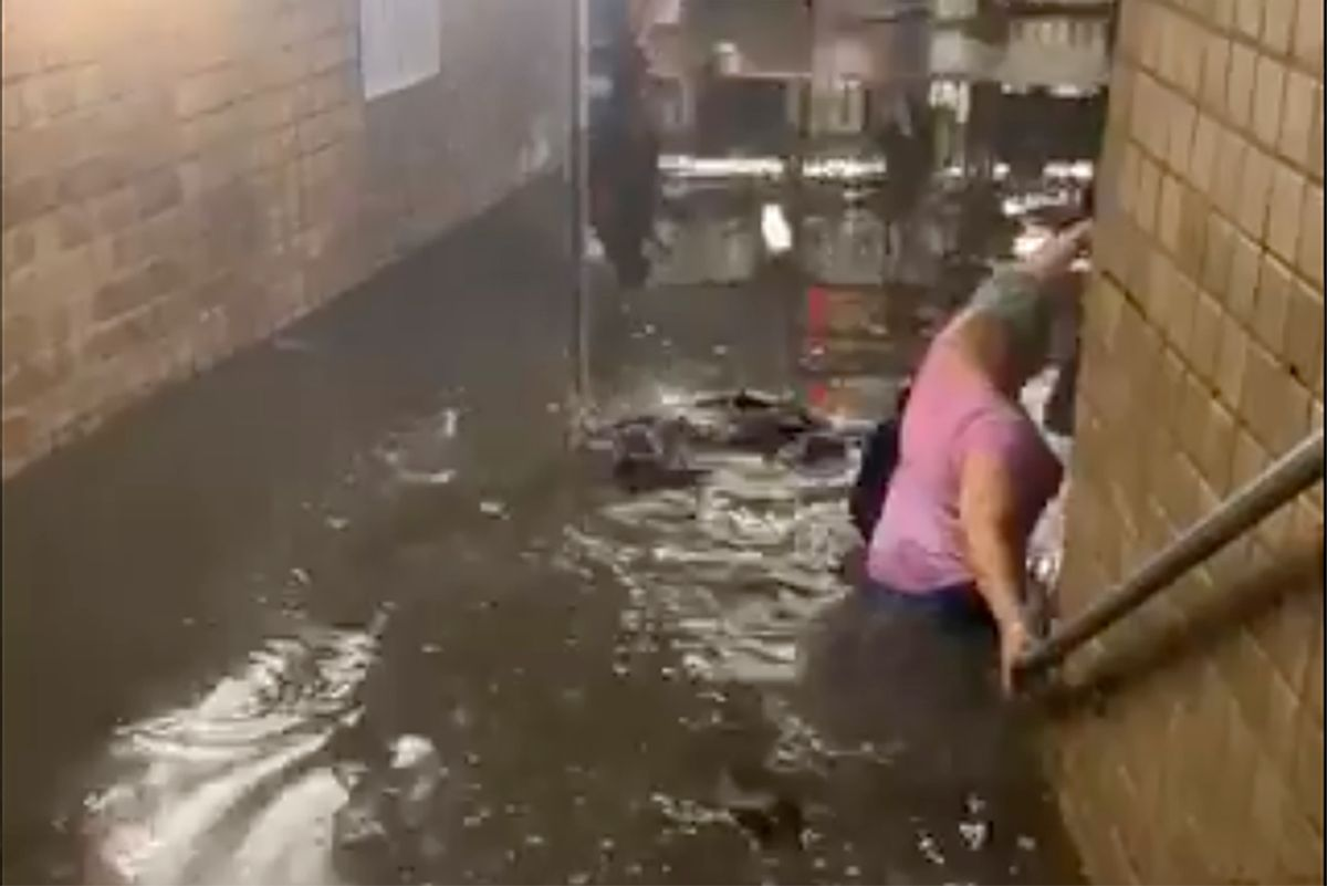 Flooding at a subway station in upper Manhattan this past week. (Twitter)