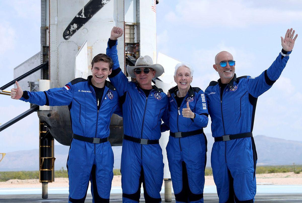 Blue Origin's New Shepard crew Oliver Daemen, Jeff Bezos, Wally Funk and Mark Bezos on July 20, 2021 (Joe Raedle/Getty Images)