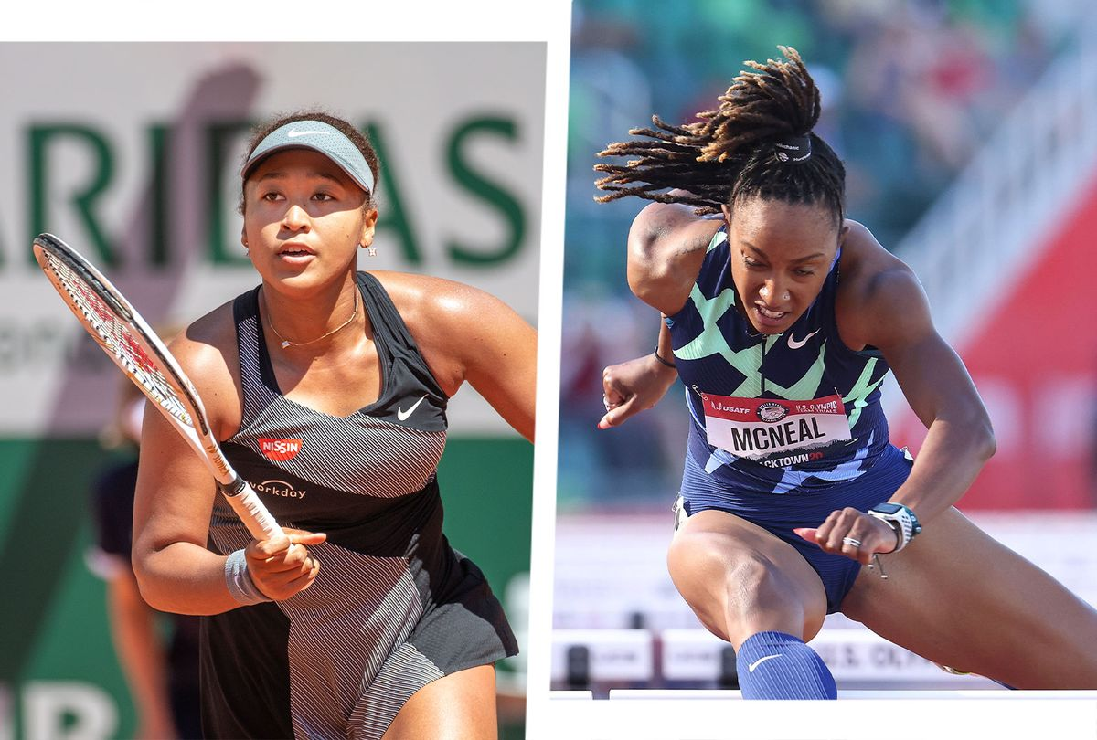 Naomi Osaka at the 2021 French Open Tennis Tournament and Brianna McNeal in the Women 100 Meter Hurdles at the 2020 U.S. Olympic Track & Field Team Trials (Photo illustration by Salon/Tim Clayton/Corbis/Andy Lyons/Getty Images)