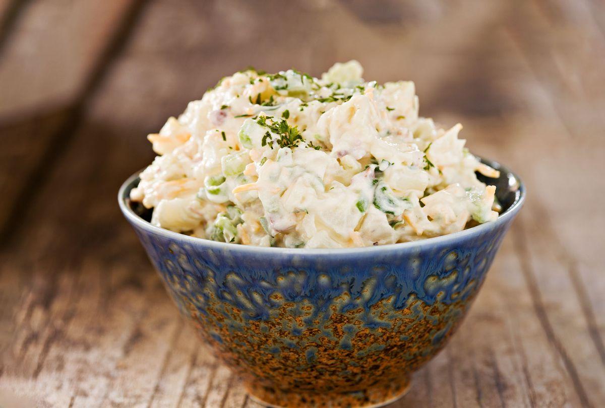 Creamy Potato Salad In A Fancy Blue Bowl (Getty Images/Debbi Smirnoff)