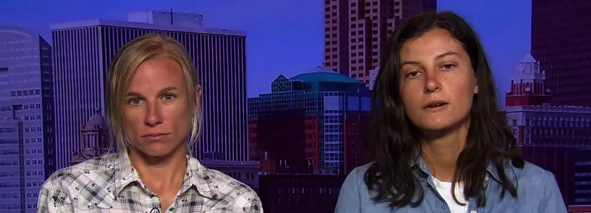 """Dakota Pipeline protesters Jessica Reznicek, left, and Ruby Montoya during a 2017 appearance on """"Democracy Now!""""  (Democracy Now!)"""
