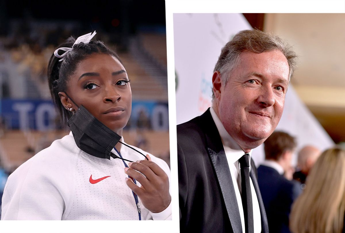 Simone Biles and Piers Morgan (Photo illustration by Salon/Getty Images)