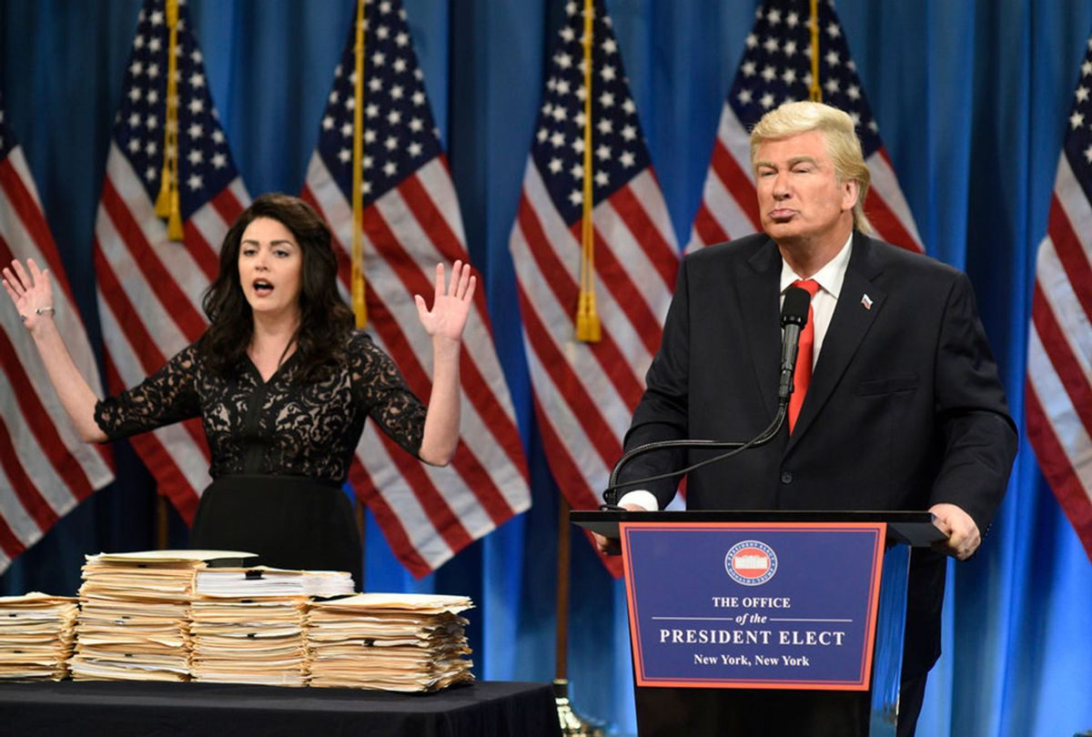 Cecily Strong as a lawyer and Alec Baldwin as President Elect Donald J. Trump during the Trump Press Conference Cold Open on January 14th, 2017. (Will Heath/NBC)