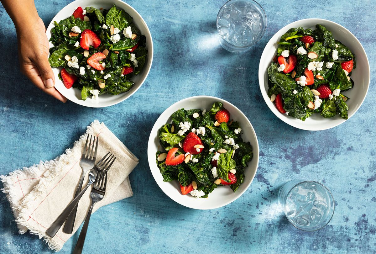 Wilted spinach salad with strawberries, slivered almonds and goat cheese (America's Test Kitchen)