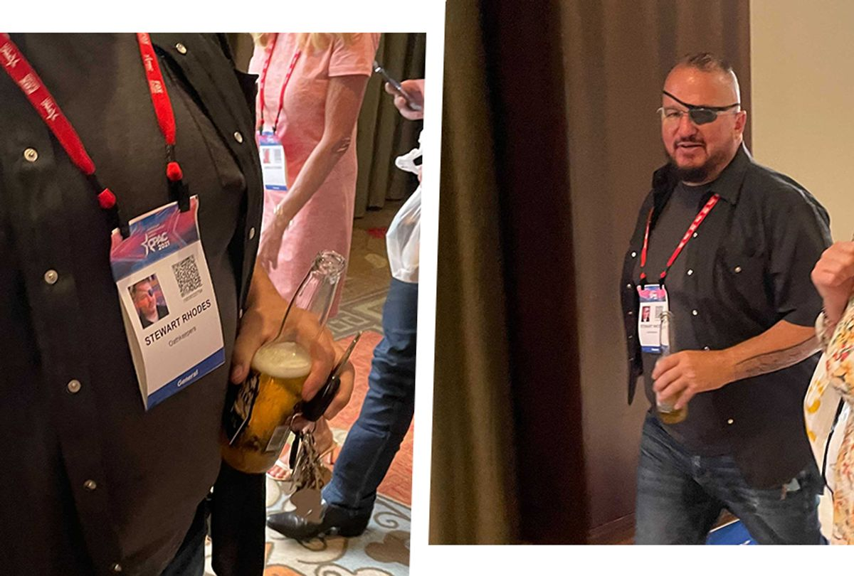 Stewart Rhodes, the founder of the right-wing Oath Keepers militia, was spotted by a Salon reporter at CPAC in Dallas Friday, sporting an official CPAC pass (left).  (Zachary Petrizzo)