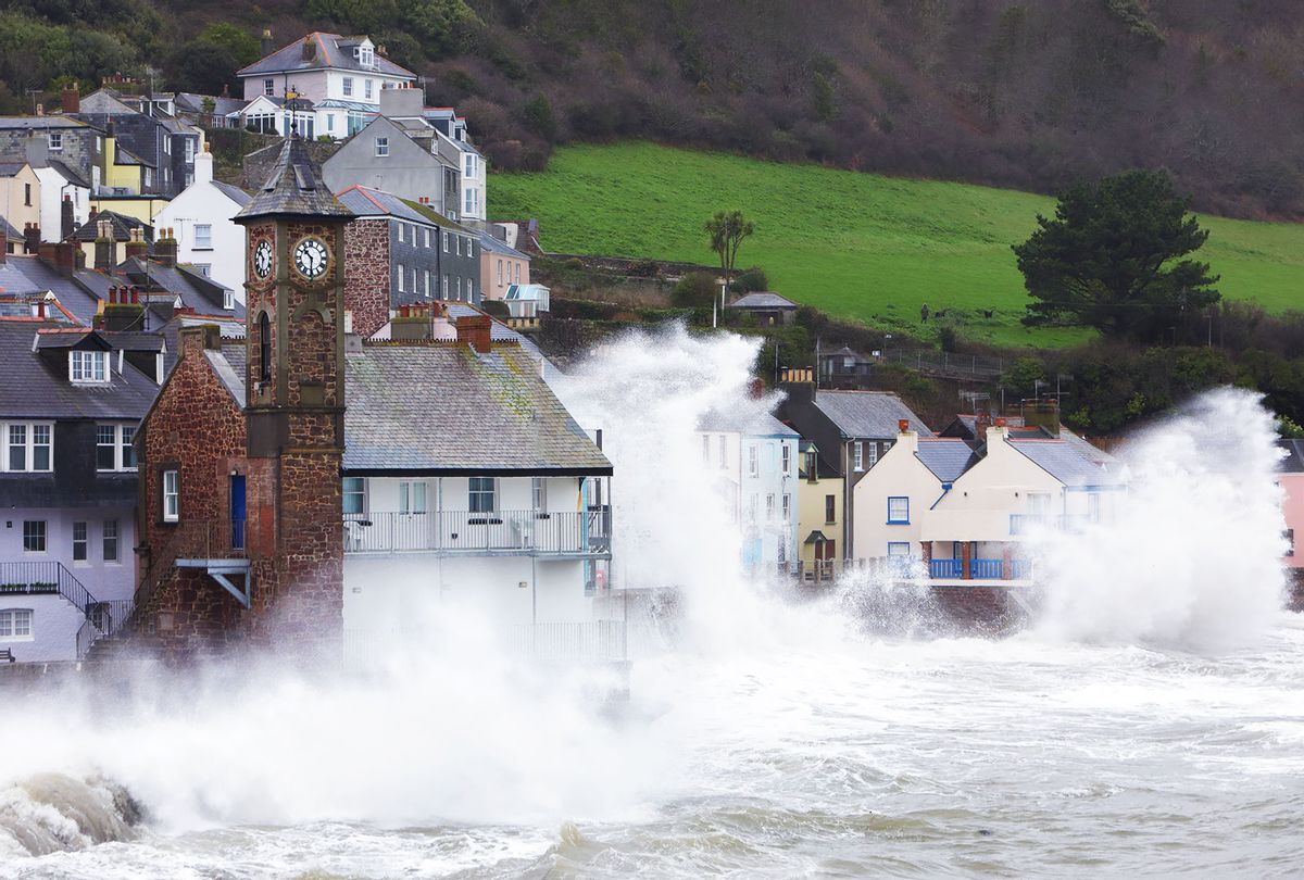 Coastal village during a storm, UK. (Getty images/Peter Cade)