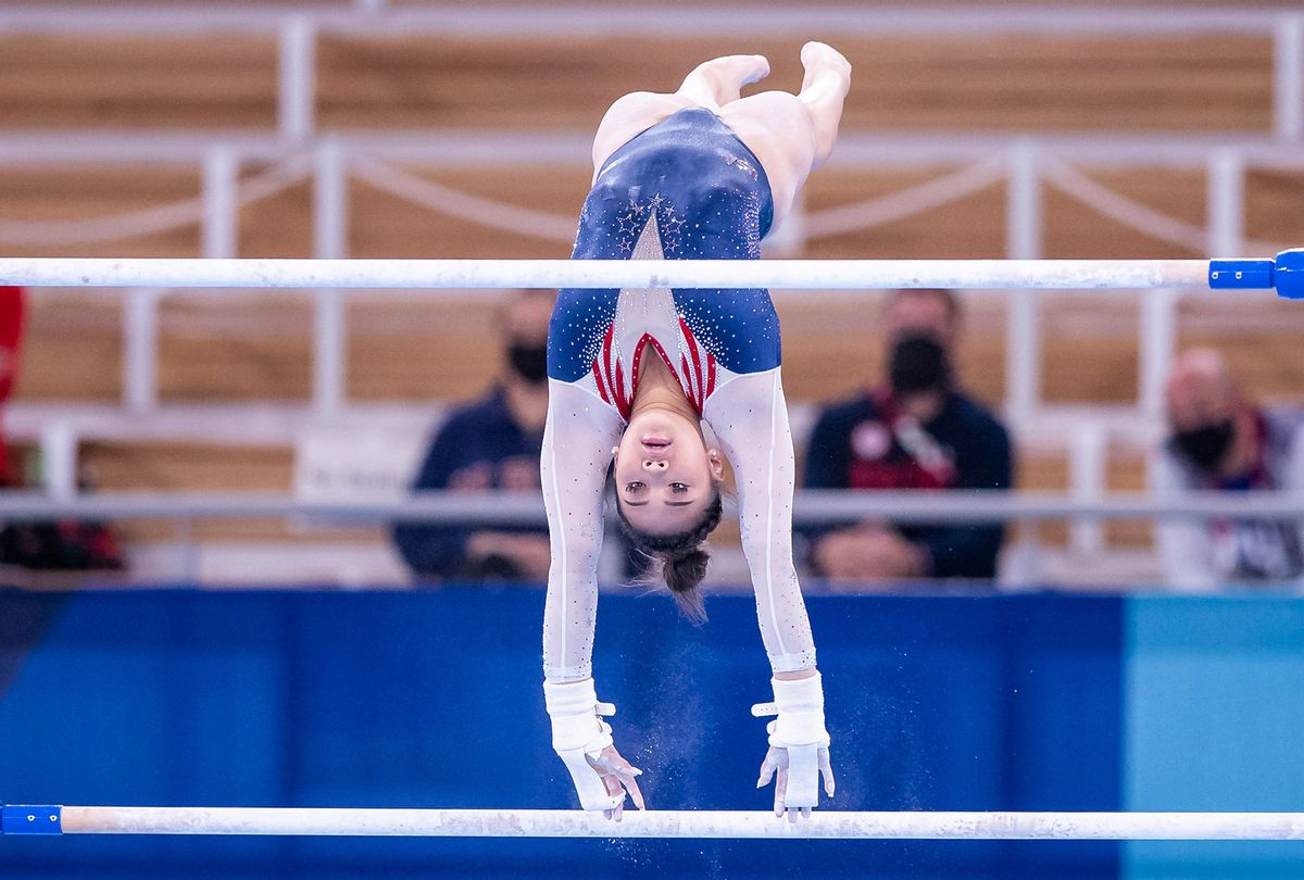 Sunisa Lee competes on the uneven bars for the women's gymnastics all-around at the Tokyo 2020 Olympic Games (Tom Weller/DeFodi Images via Getty Images)