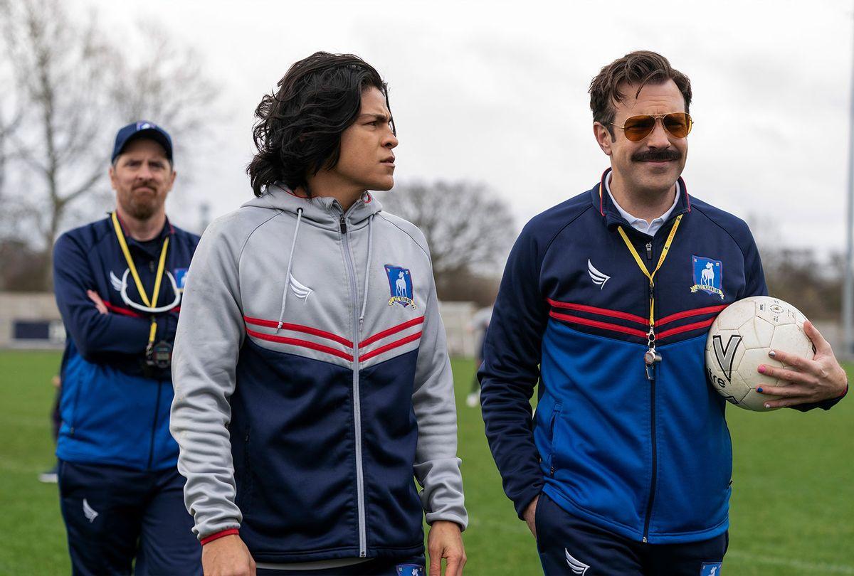 "Brendan Hunt, Cristo Fernández and Jason Sudeikis in ""Ted Lasso"" (Apple TV+)"