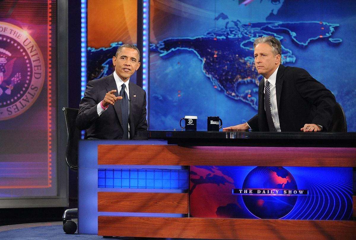 """President Barack Obama and Jon Stewart on """"The Daily Show"""" October 18, 2012 (Brad Barket for PictureGroup)"""
