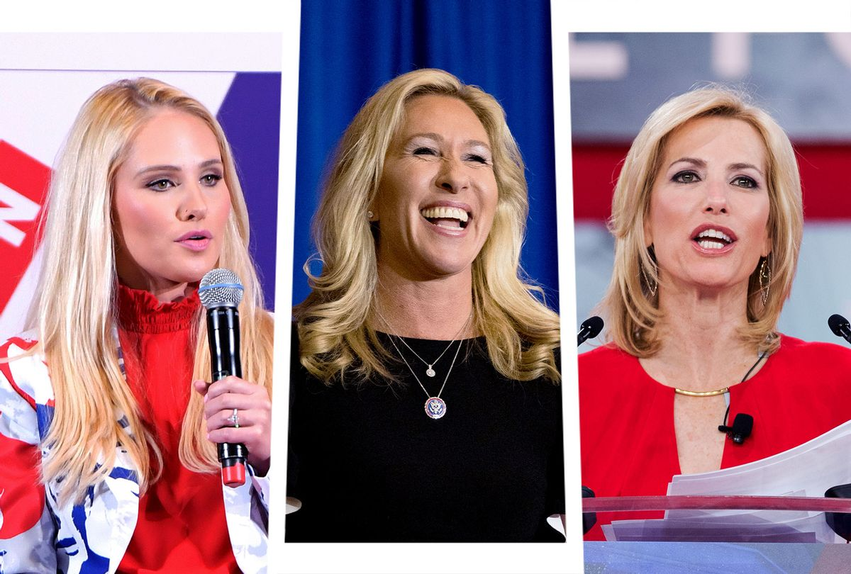 Tomi Lahren, Marjorie Taylor Greene and Laura Ingraham (Photo illustration by Salon/Getty Images)