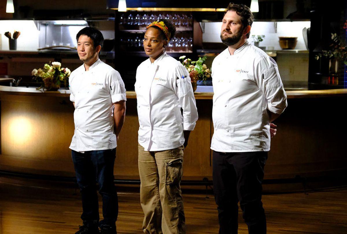 "Shota Nakajima, Dawn Burrell, Gabe Erales in ""Top Chef: Portland"" finale (David Moir/Bravo)"
