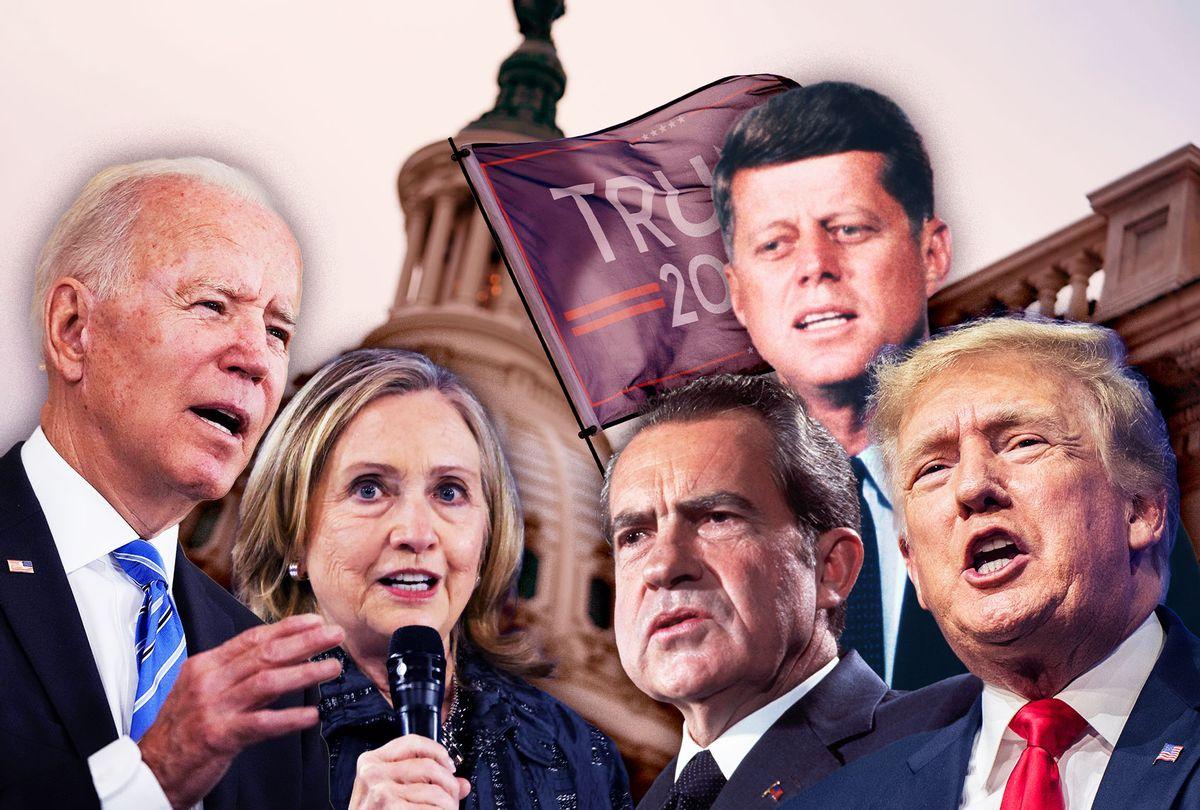 Donald Trump, Joe Biden, Hillary Clinton, JFK and Richard Nixon (Photo illustration by Salon/Getty Images)