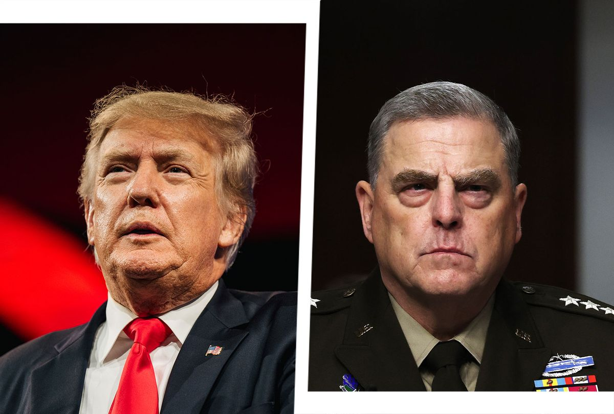Former U.S. President Donald Trump and Chairman of the Joint Chiefs of Staff Gen. Mark Milley (Photo illustration by Salon/Getty Images)