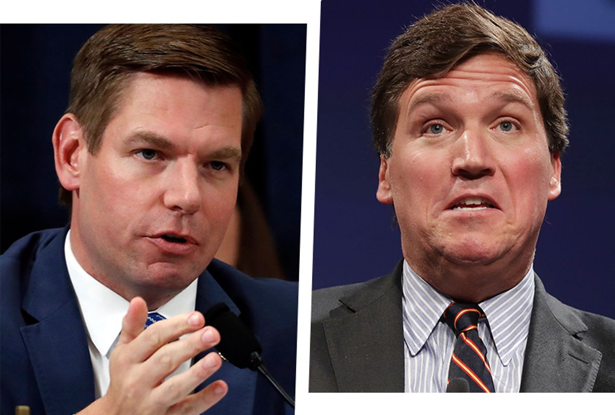 Rep. Eric Swalwell, D-Cali., left, and Fox News host Tucker Carlson. (Getty Images)