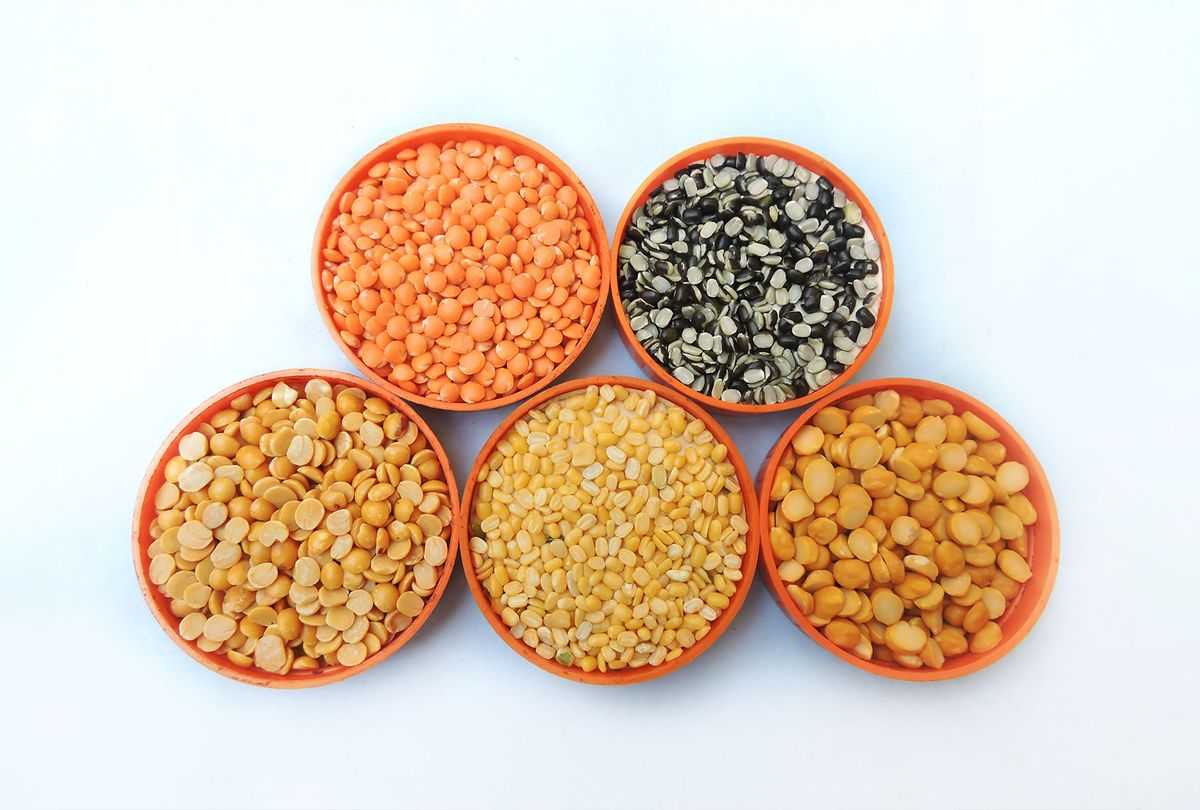 ive types of lentils that are widely consumed in India: mung bean, chickpea lentil, black gram, red masur lentil, and pigeon pea. (Getty Images/Gyan Pratim Raichoudhury)
