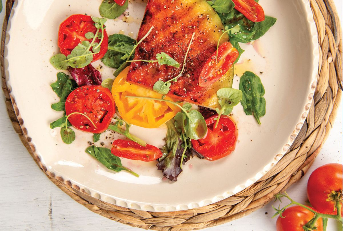 """Watermelon Steak Salad with Heirloom Tomatoes and Sangria Vinaigrette from """"Bress 'n' Nyam: Gullah Geechee Recipes from a Sixth-Generation Farmer."""" (Siobhán Egan)"""