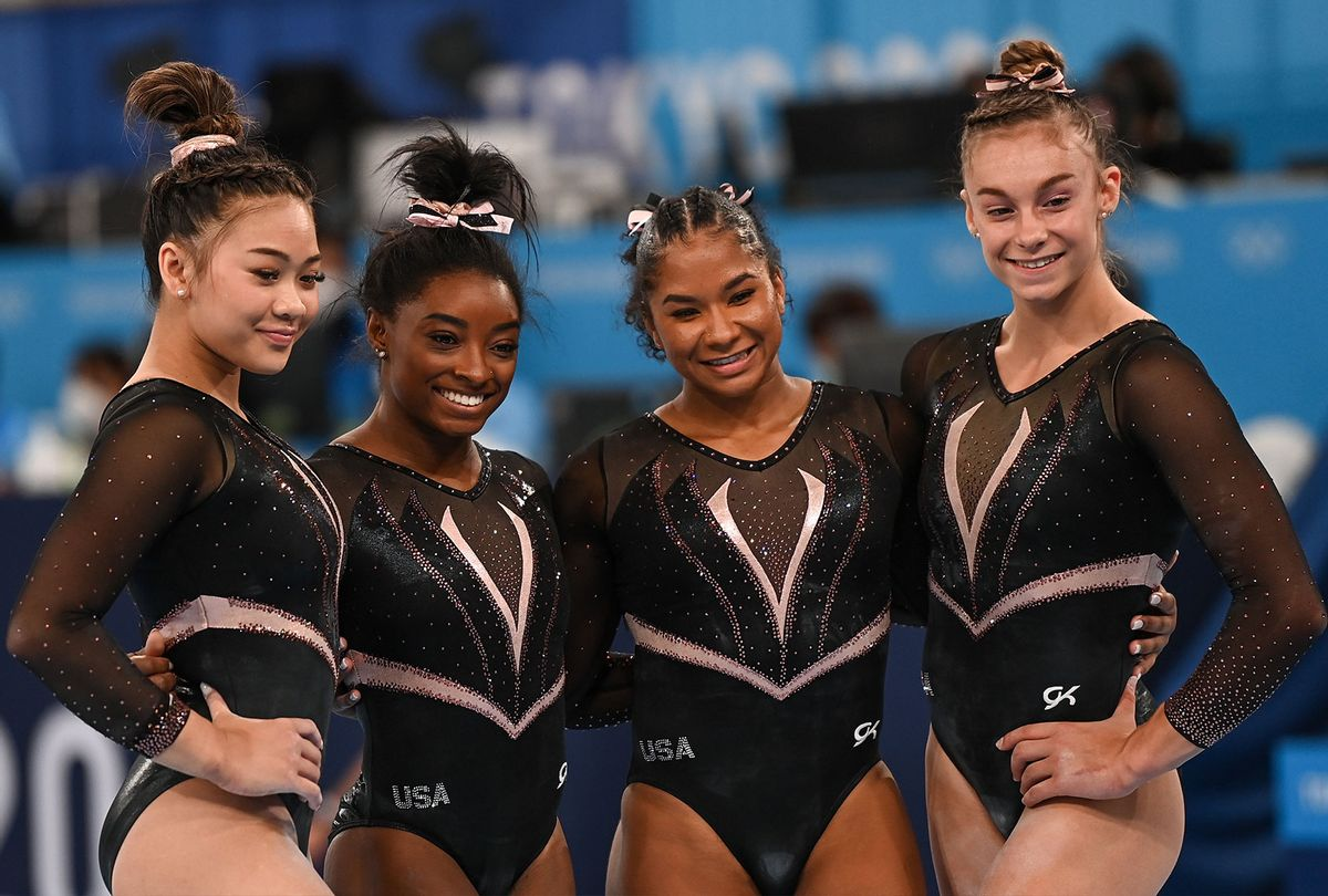 Women's Team USA gymnastics: Sunisa Lee, Simone Biles, Jordan Chiles and Grace McCallum after a training session ahead of the 2020 Tokyo Summer Olympic Games. (Ramsey Cardy/Sportsfile via Getty Images)