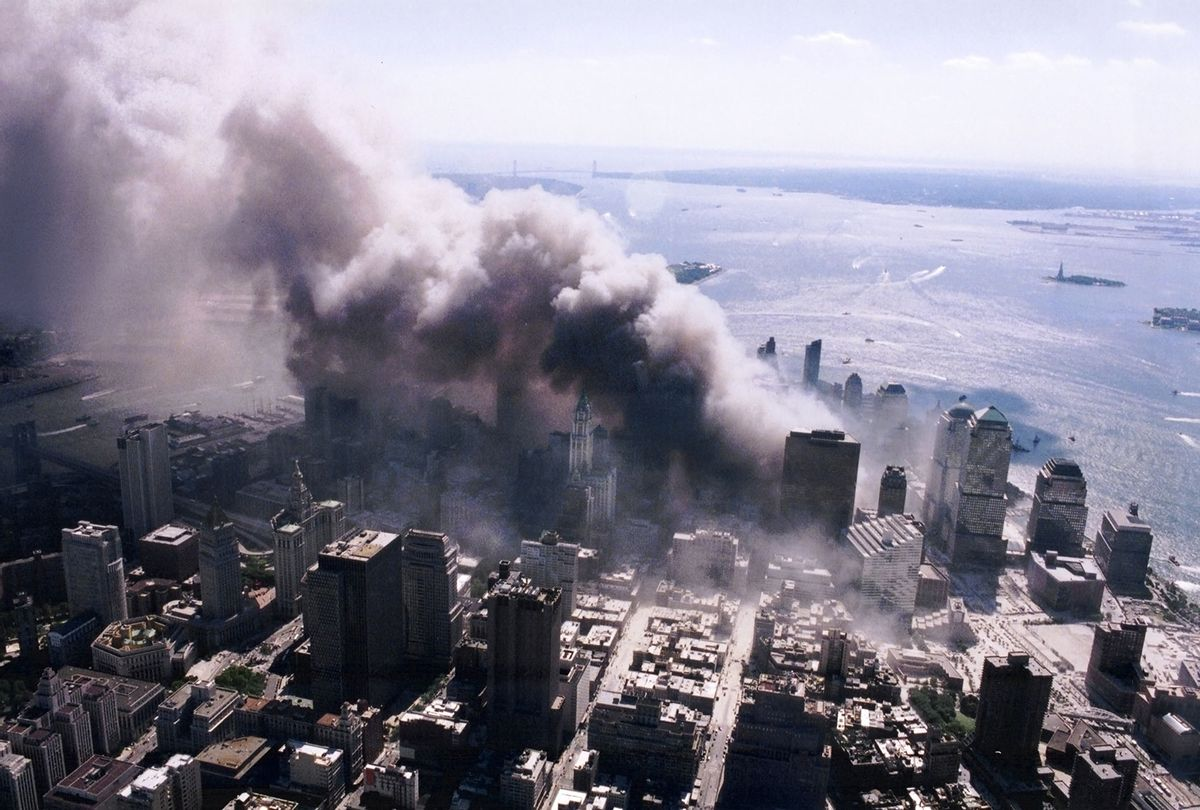 An aerial view of ground zero burning after the September 11 terrorist attacks. (NIST)