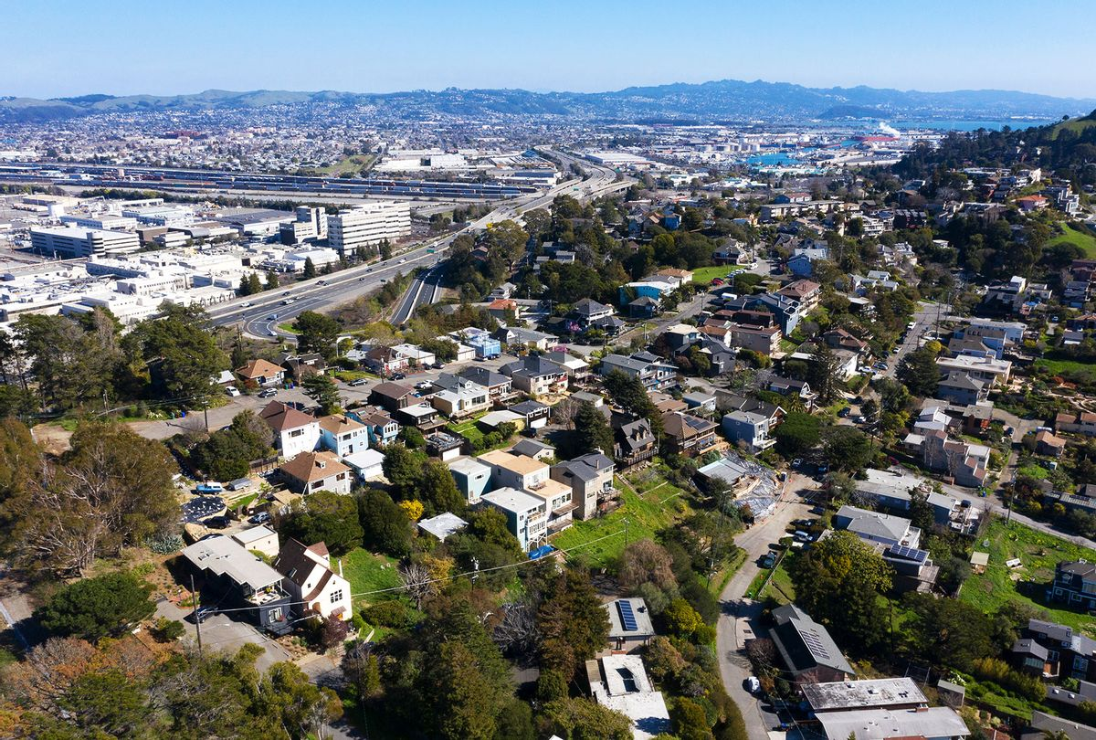 A drone view of Point Richmond is seen in Richmond, Calif., on Wednesday, Feb. 10, 2021. (Jane Tyska/Digital First Media/East Bay Times via Getty Images)