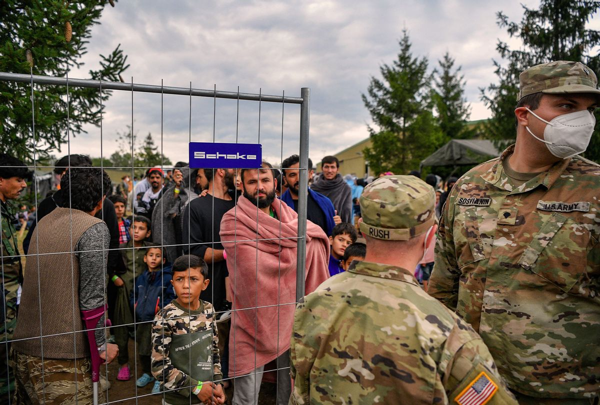 Recently-arrived refugees from Afghanistan seen at a temporary camp at the U.S. Army's Rhine Ordnance Barracks (ROB), where they are being temporarily housed, on August 30, 2021 in Kaiserslautern, Germany. Several U.S. military facilities with the capacity to house up to several thousand evacuees are participating, in an operation called Operation Allied Refuge. (Sascha Schuermann/Getty Images)