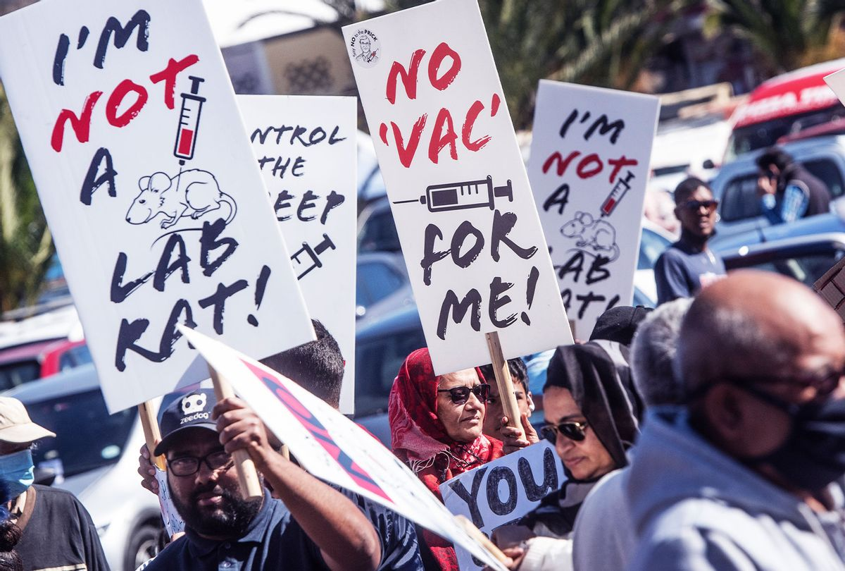 A group gathered at an anti-vaccine protest (Brenton Geach/Gallo Images via Getty Images)