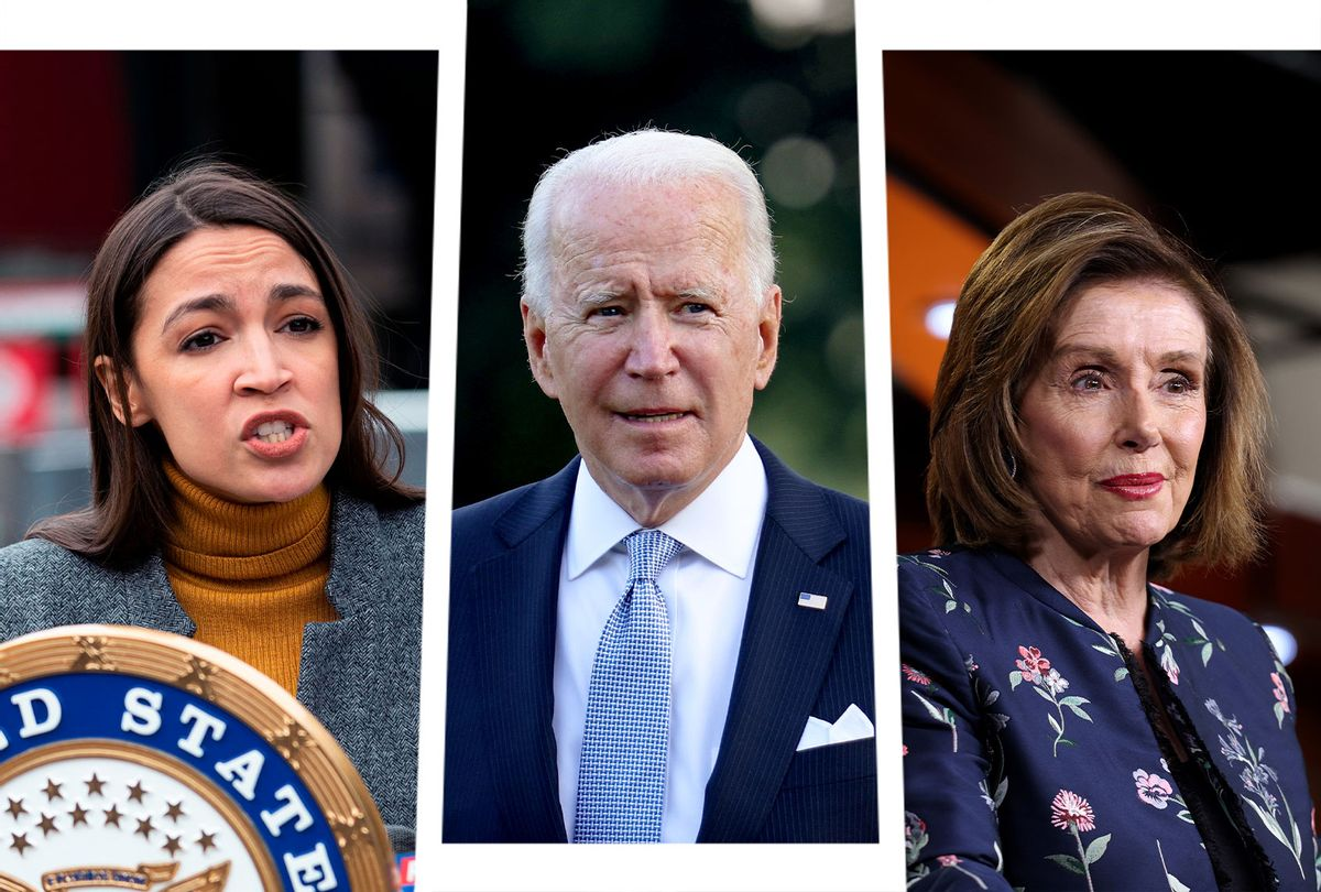 Alexandria Ocasio-Cortez, Joe Biden and Nancy Pelosi (Photo illustration by Salon/Getty Images)