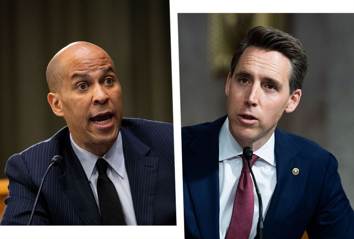 Cory Booker and Josh Hawley (Photo illustration by Salon/Getty Images)