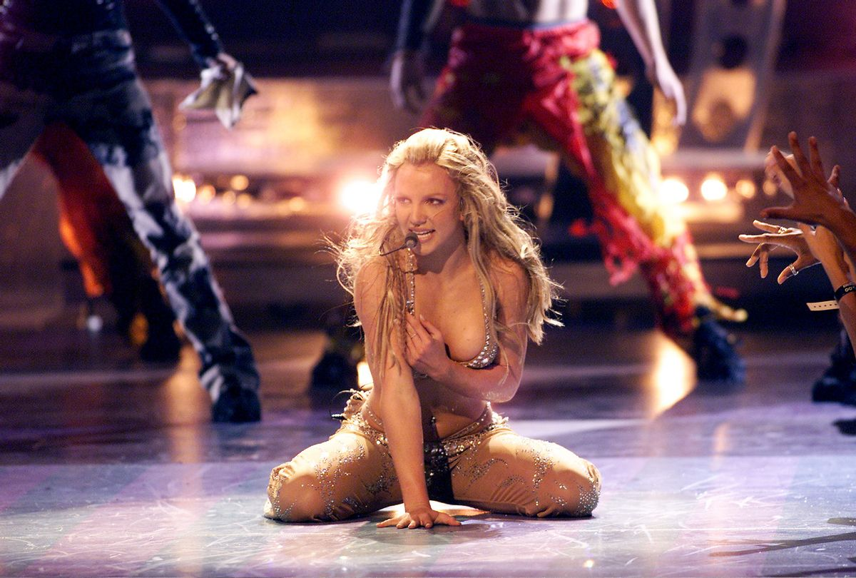 Britney Spears performing onstage at the 2000 MTV Video Music Awards (Scott Gries/ImageDirect/Getty Images)