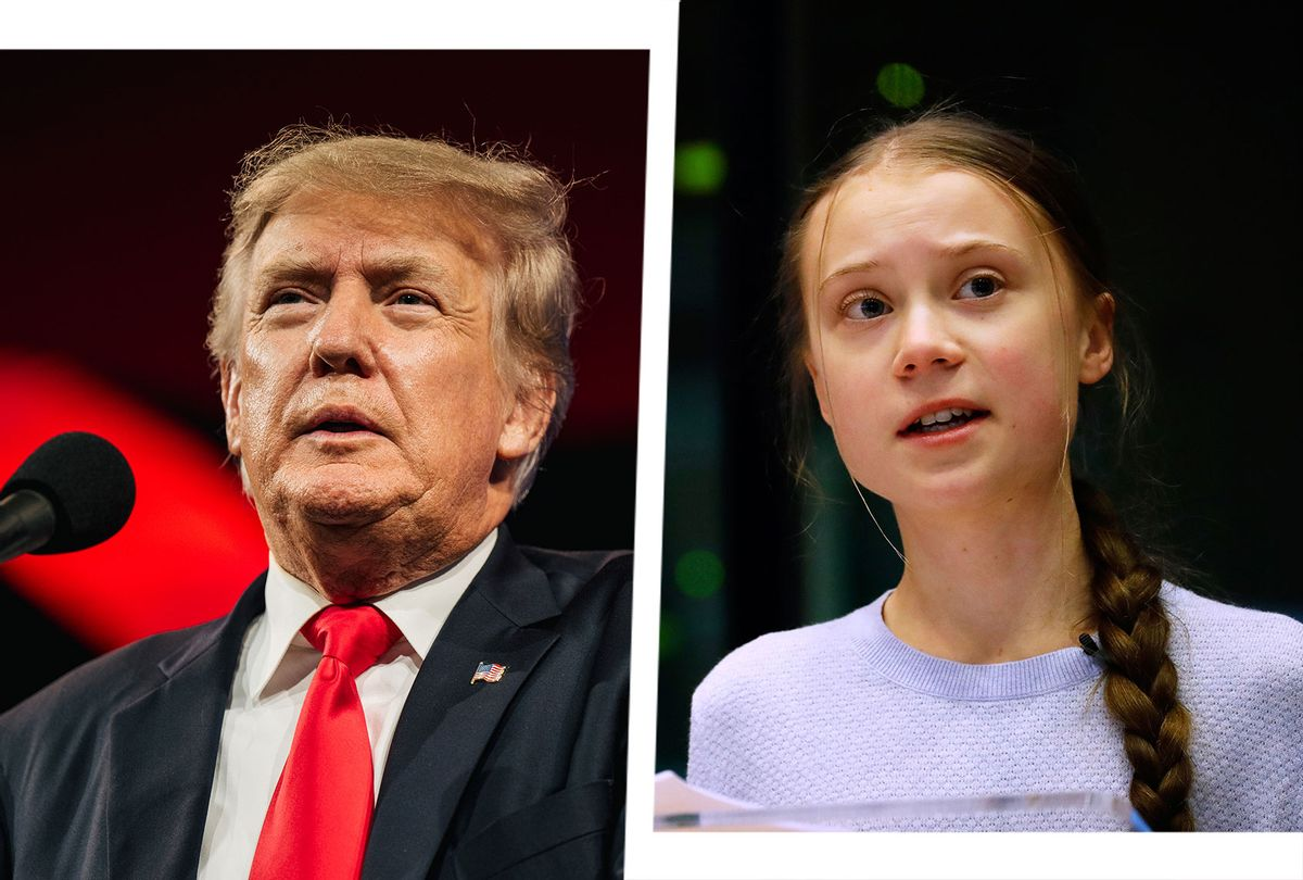Former US President Donald Trump and Swedish climate activist Greta Thunberg (Photo illustration by Salon/Getty Images)