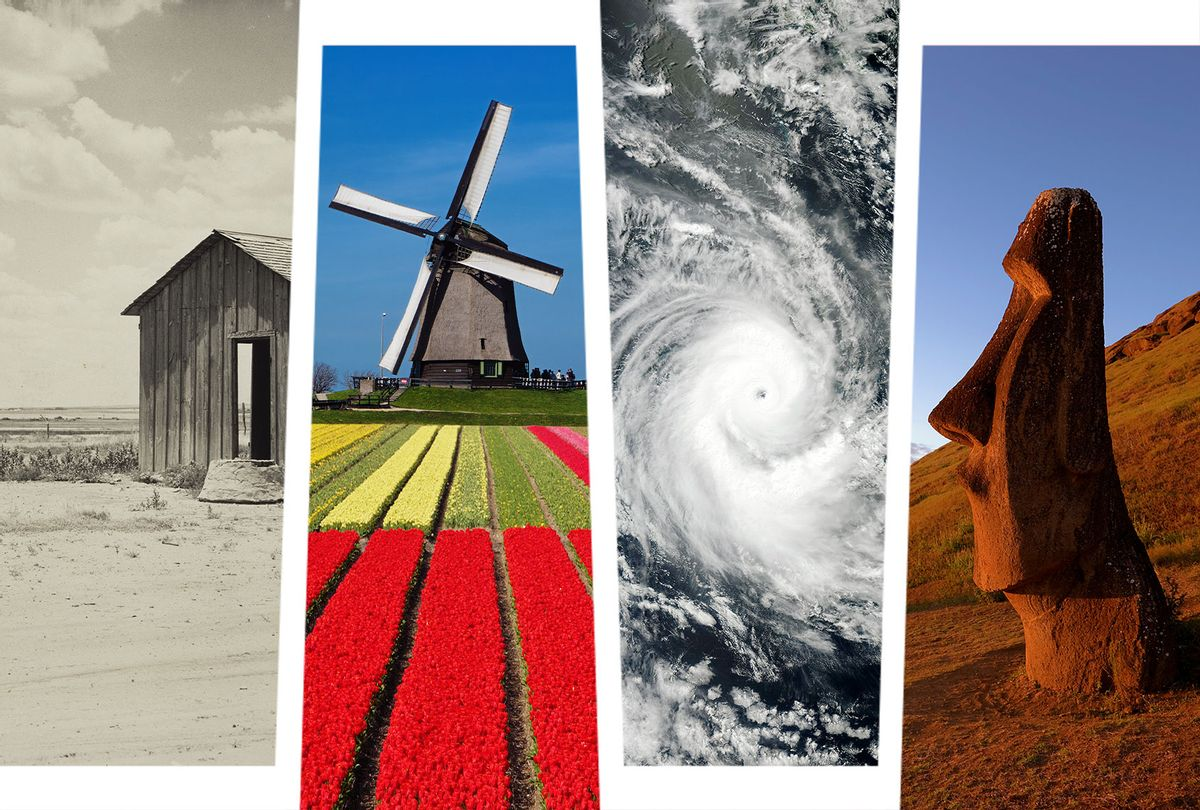 The Dust Bowl, a windmill in the Netherlands, a Hurricane, and an Easter Island head (Photo illustration by Salon/Getty Images/Sepia Times/NASA/Michael Dunning/Adam Jones)
