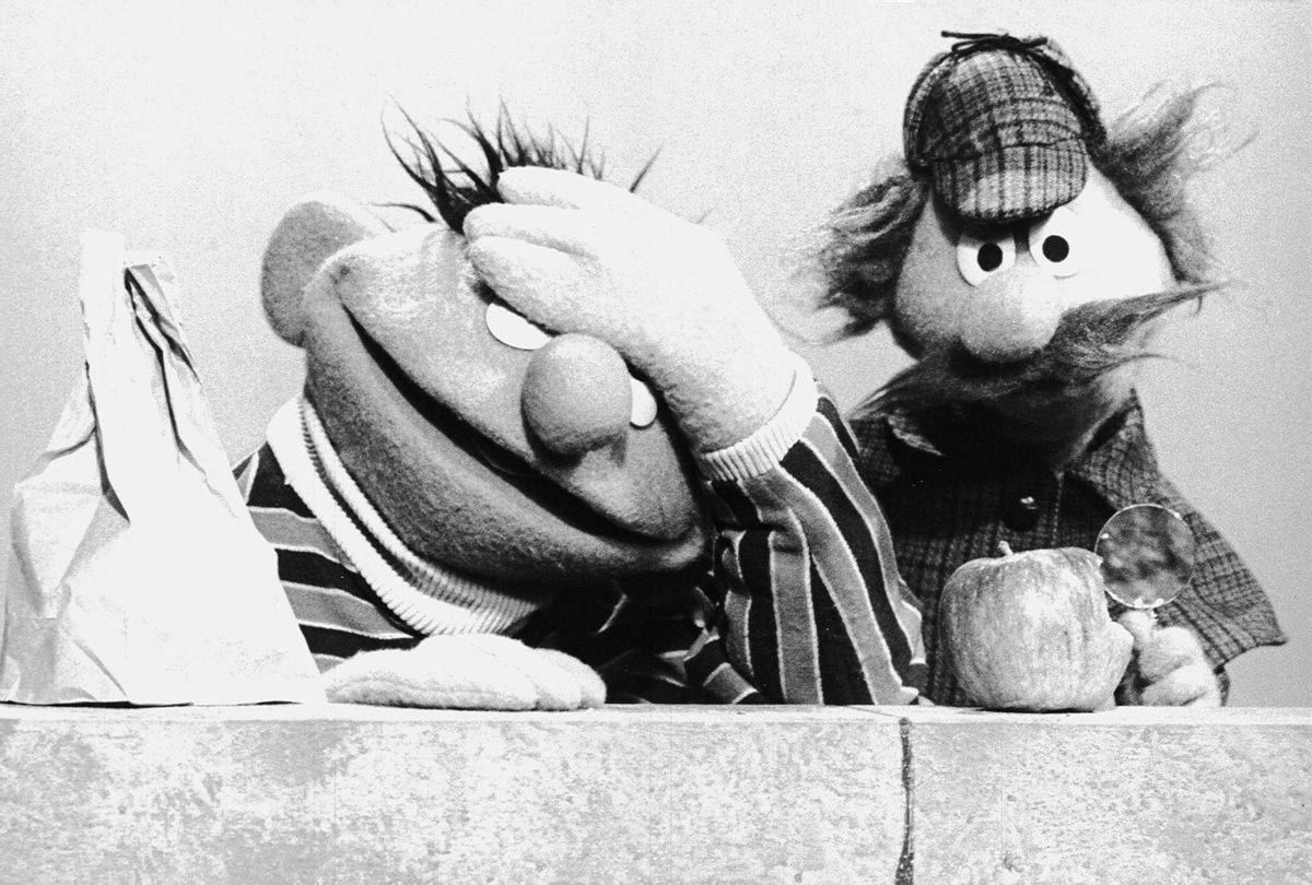 """Ernie & Sherlock Hemlock on """"Sesame Street"""" in late 1970  (Photo by Children's Television Workshop/Courtesy of Getty Images)"""