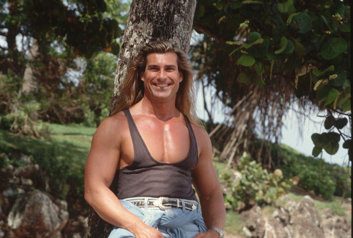 Italian model Fabio leaning against a tree in Hawaii. (Lynn Goldsmith/Corbis/VCG via Getty Images)