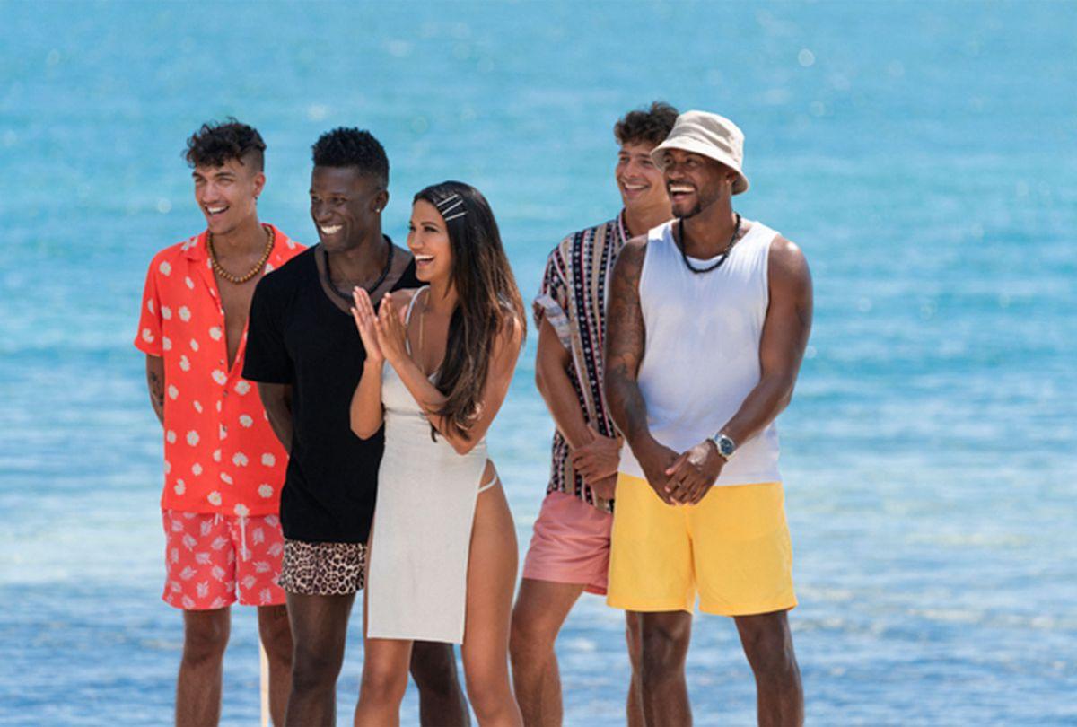 "CJ Franco, Chaun Williams, Casey Johnson, Jarred Evans on ""FBoy Island"" (HBO Max)"