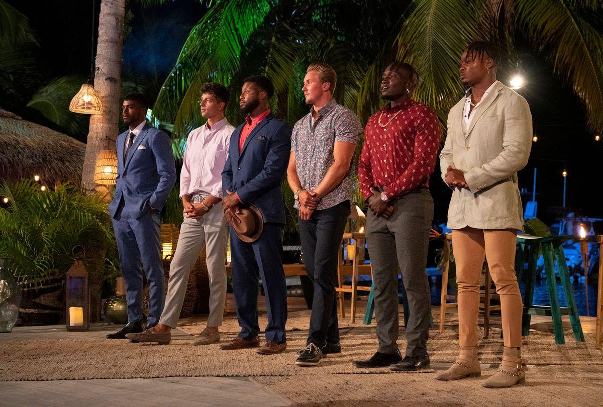 Jared Evans, Casey Johnson, Josh McDonald, Garrett Morosky, Fernando Titus, Jared Motley in FBoy Island  (Warner Media/HBO Max)