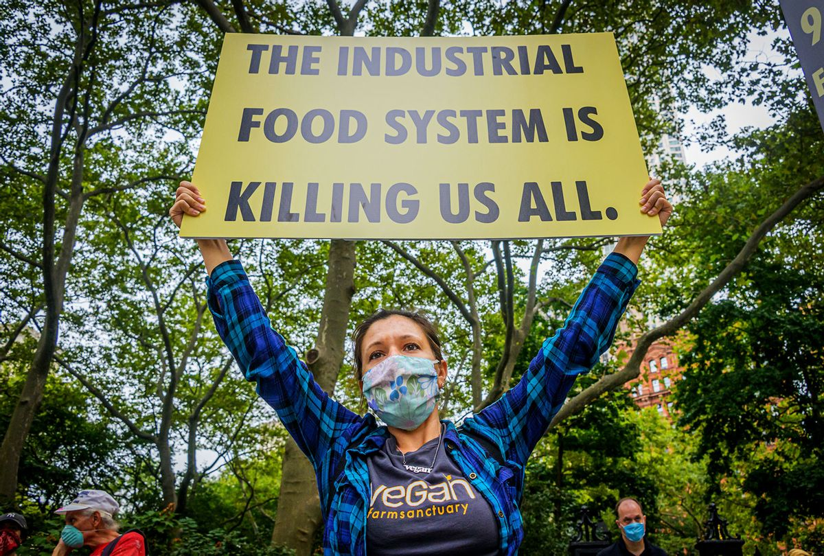 An activists\ from Extinction Rebellion NYC holding a sign at a climate march. (Erik McGregor/LightRocket via Getty Images)