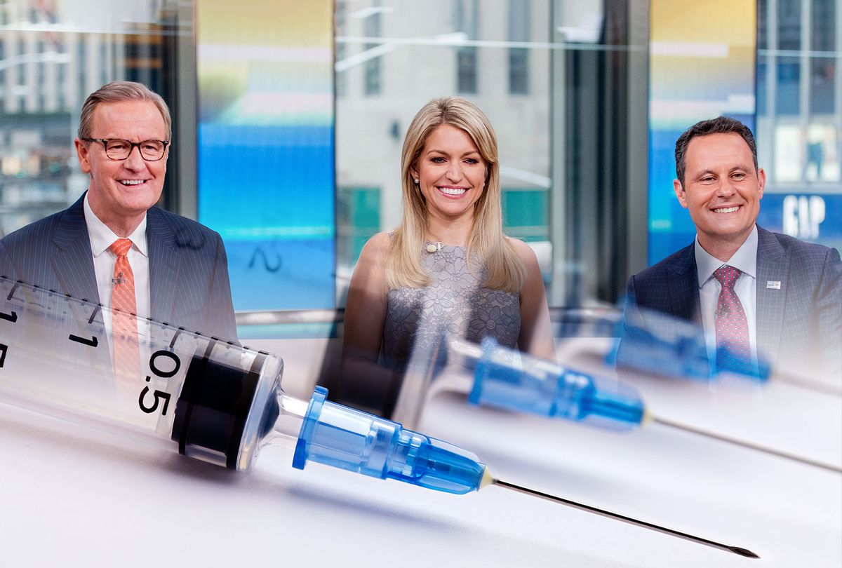 Steve Doocy, Ainsley Earhardt and Brian Kilmeade of Fox & Friends   Vaccines (Photo illustration by Salon/Getty Images)
