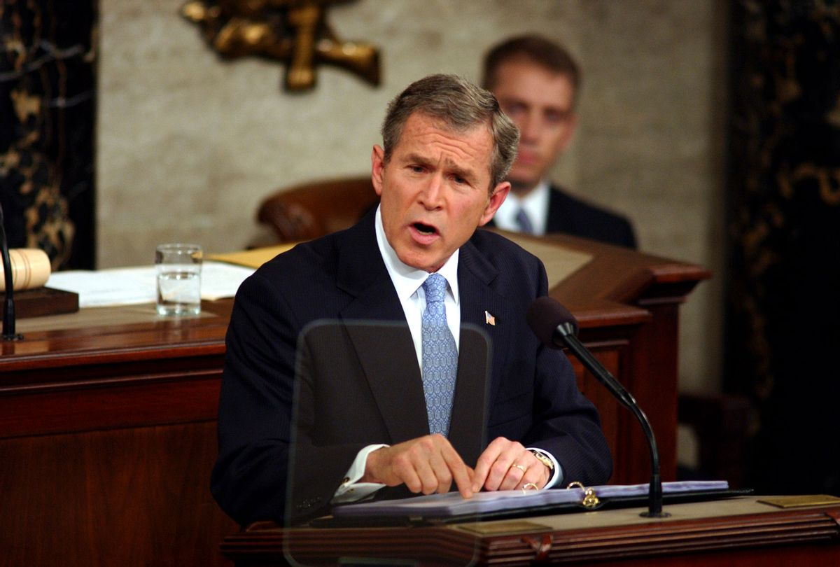 President George W. Bush during his first State of the Union address to a joint session of Congress. (Douglas Graham/Roll Call/Getty Images)