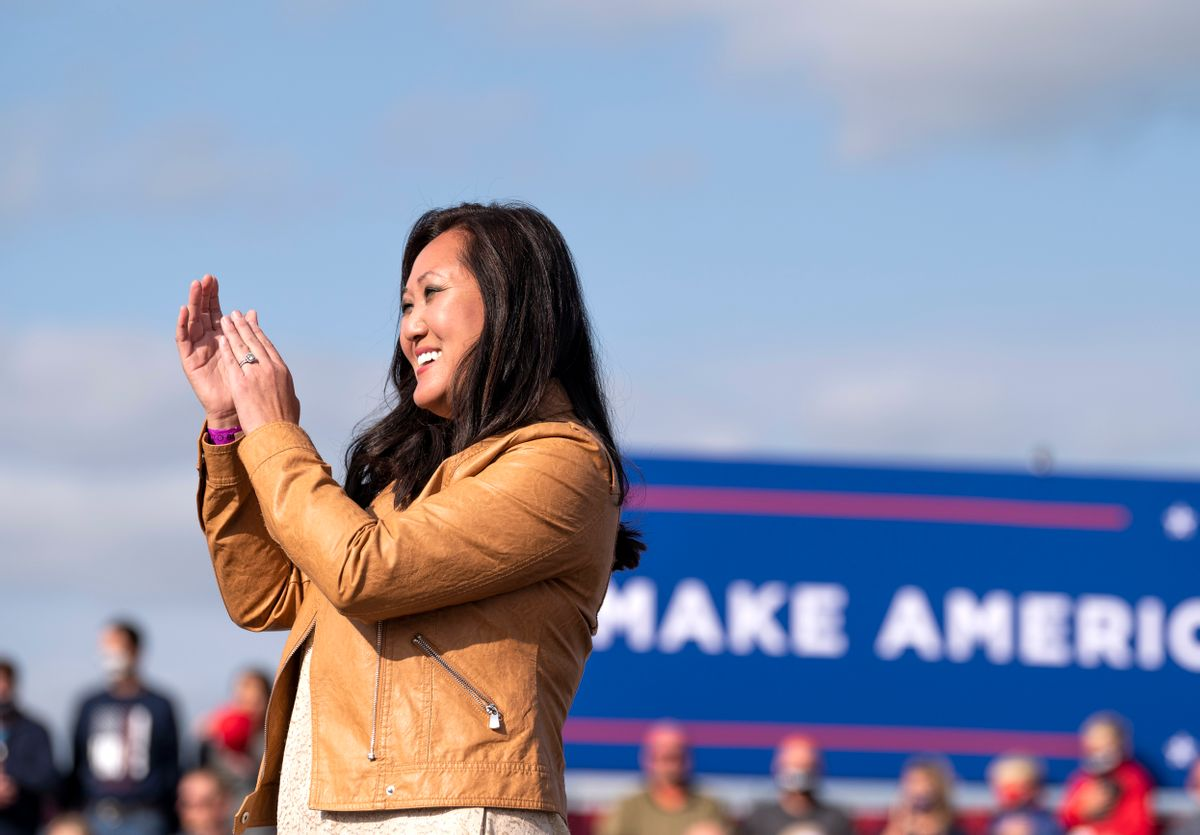 Minnesota Republican Party chair Jennifer Carnahan looks on during the national anthem during a rally for President Donald Trump at the Bemidji Regional Airport on September 18, 2020 in Bemidji, Minnesota. (Getty Images)