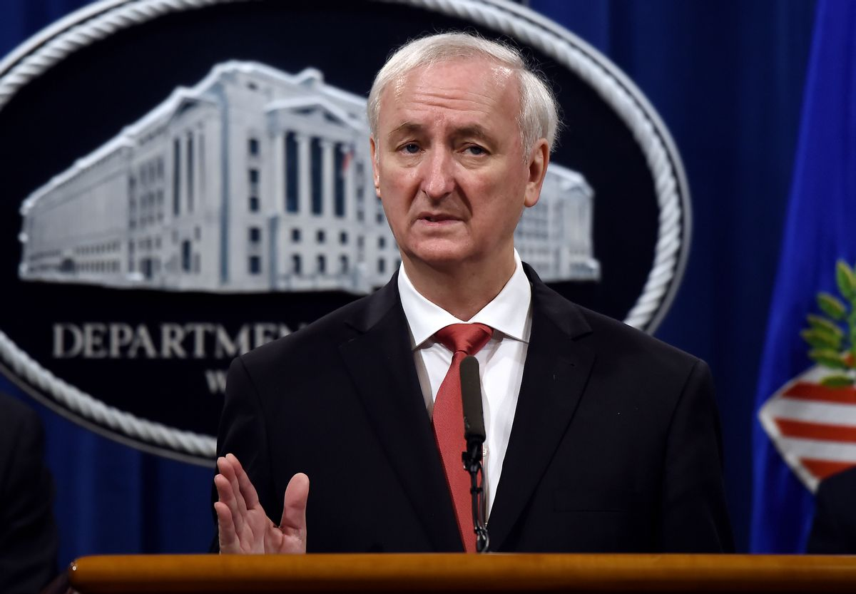 Then-deputy Attorney General Jeffrey A. Rosen speaks at a news conference at the Justice Department. (Getty Images)
