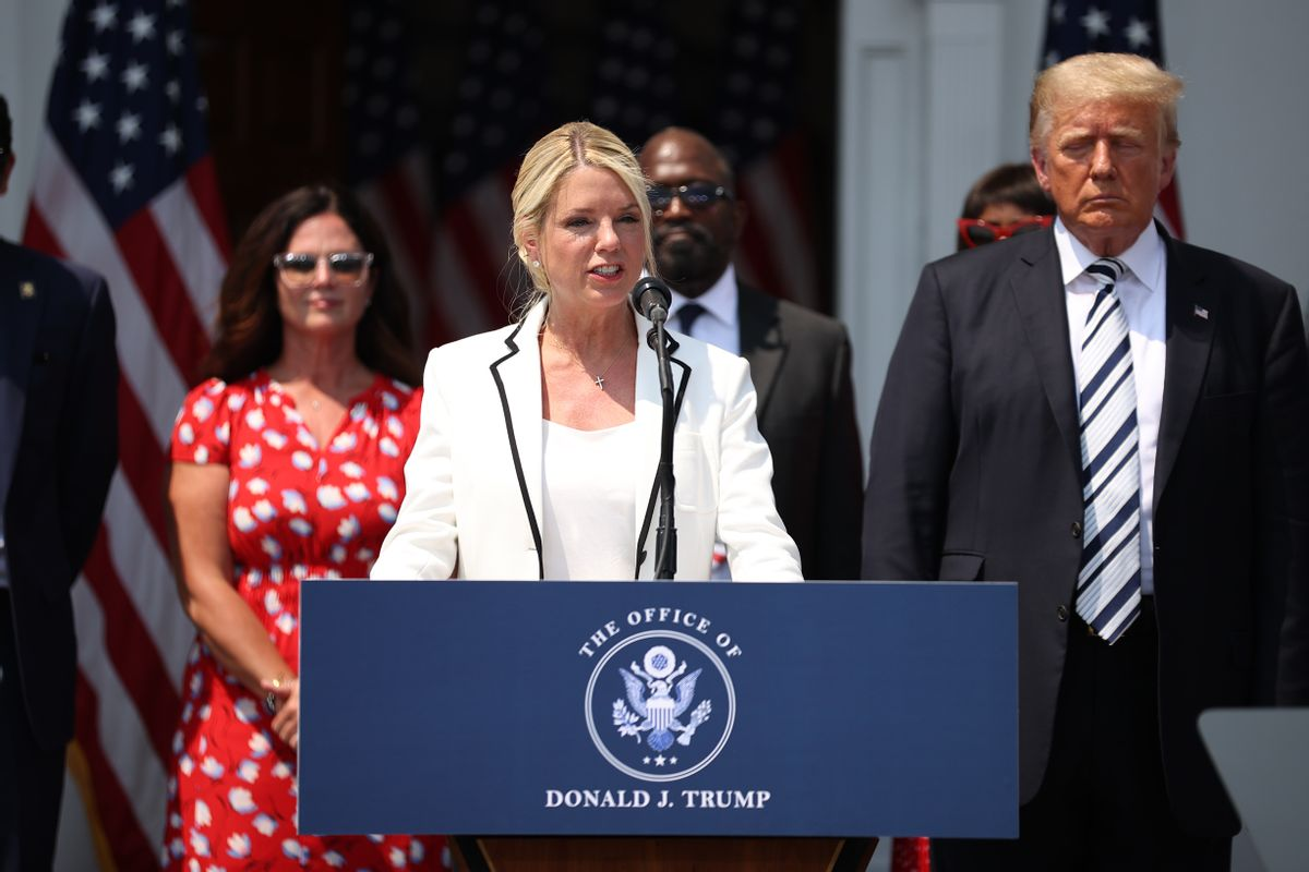 Pam Bondi, former Florida Attorney General, speaks during a press conference at the Trump National Golf Club in Bedminster, New Jersey. (Tayfun Coskun/Anadolu Agency via Getty Images)
