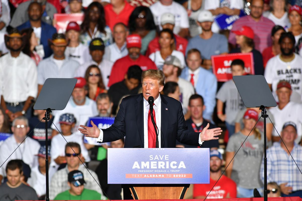 Donald J. Trump delivers remarks at a major rally hosted by the Alabama Republican Party and in conjunction with the Alabama Republican Party's Summer Meeting to support the MAGA agenda. (Peter Zay/Anadolu Agency via Getty Images)