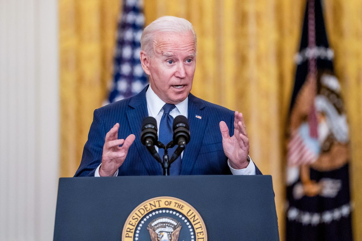 President Joe Biden delivers remarks on the evacuation of American citizens and their families, SIV applicants and their families, and vulnerable Afghans from Afghanistan. (Kent Nishimura / Los Angeles Times via Getty Images)
