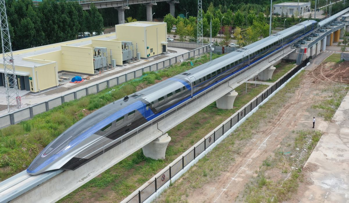 China's 600 km/h high-speed maglev transportation system makes debut on July 20, 2021, in Qingdao, Shandong Province.  (Zhang Jingang/VCG via Getty Images)