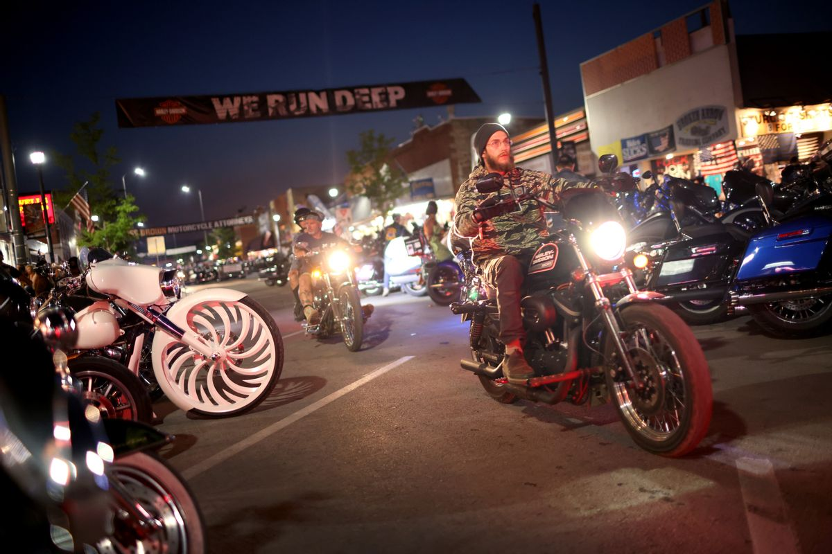 Motorcycle enthusiasts attend the 81st annual Sturgis Motorcycle Rally on August 09, 2021 in Sturgis, South Dakota. (Scott Olson/Getty Images)