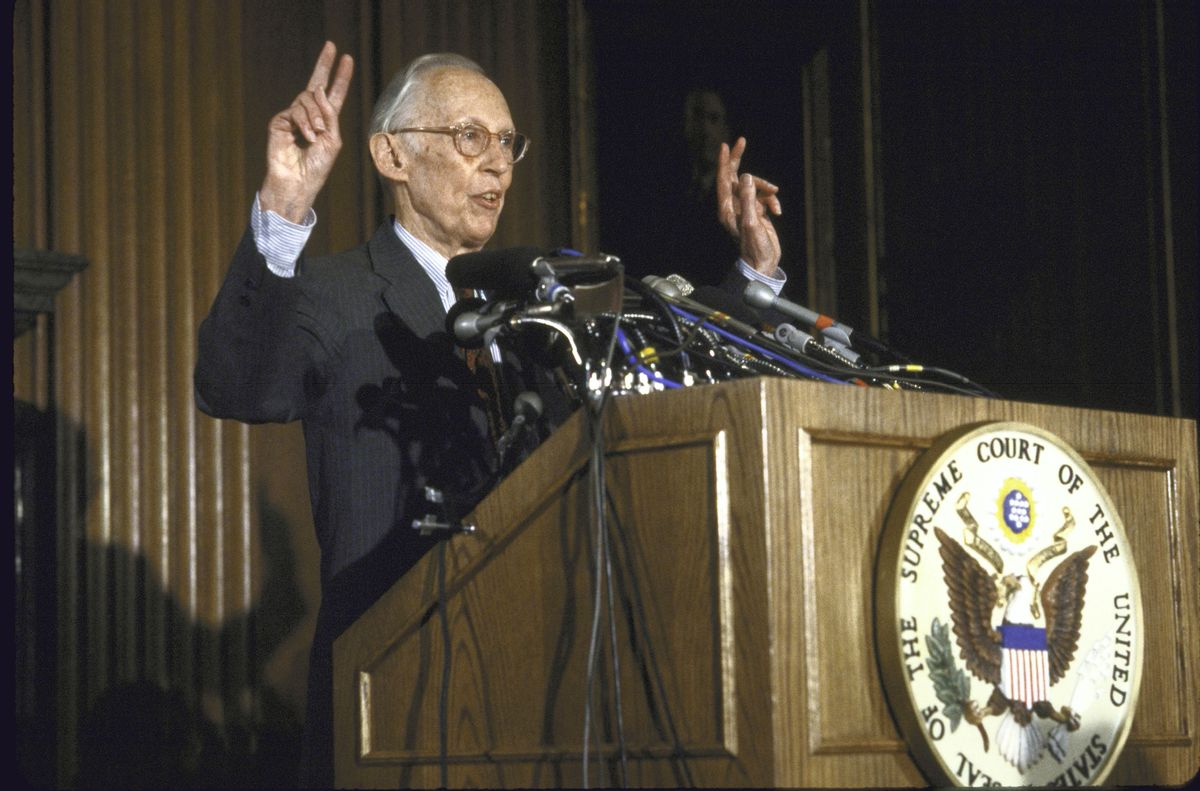 Supreme Court Justice Lewis F. Powell Jr. announcing his retirement from the Supreme Court. (Photo by Diana Walker/Getty Images)