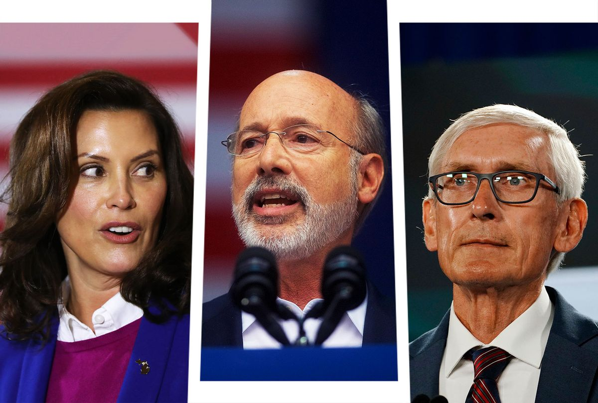 Gretchen Whitmer, Tom Wolf and Tony Evers (Photo illustration by Salon/Getty Images)